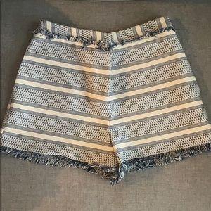 Asos cream and navy high waisted fringe shorts